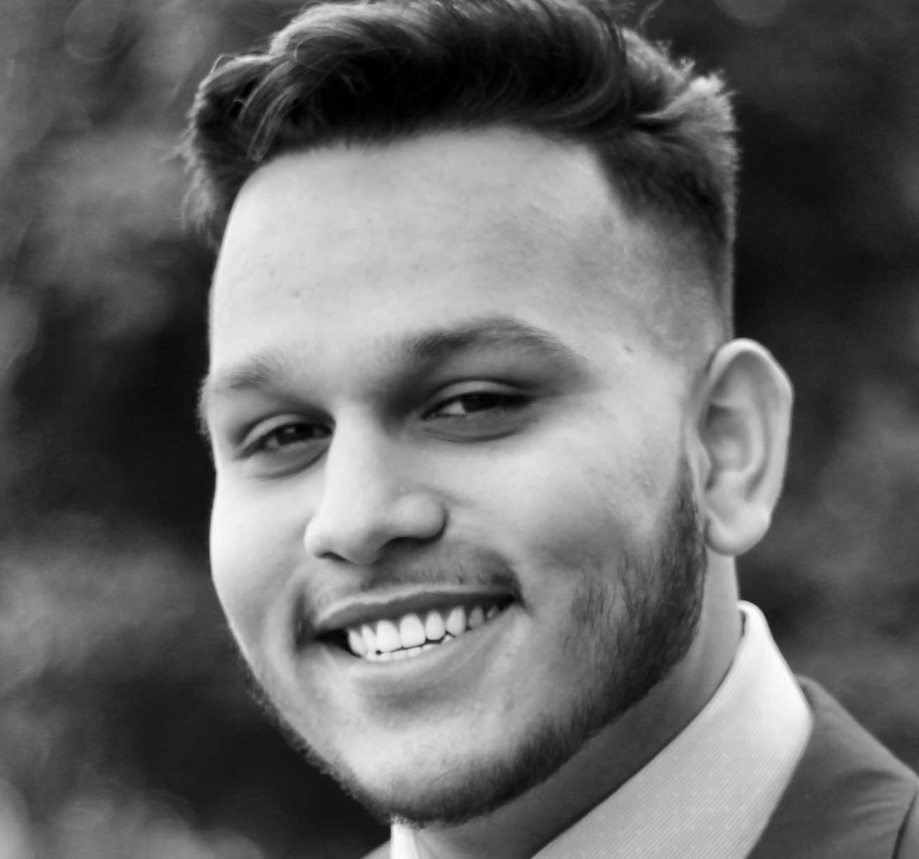 A black and white cropped headshot of Shubhdeep Nagi