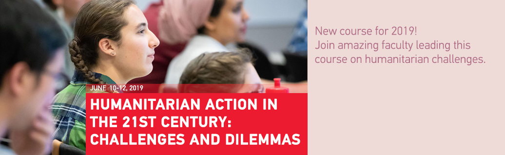 Promotional poster for Humanitarian Action in the 21st Century