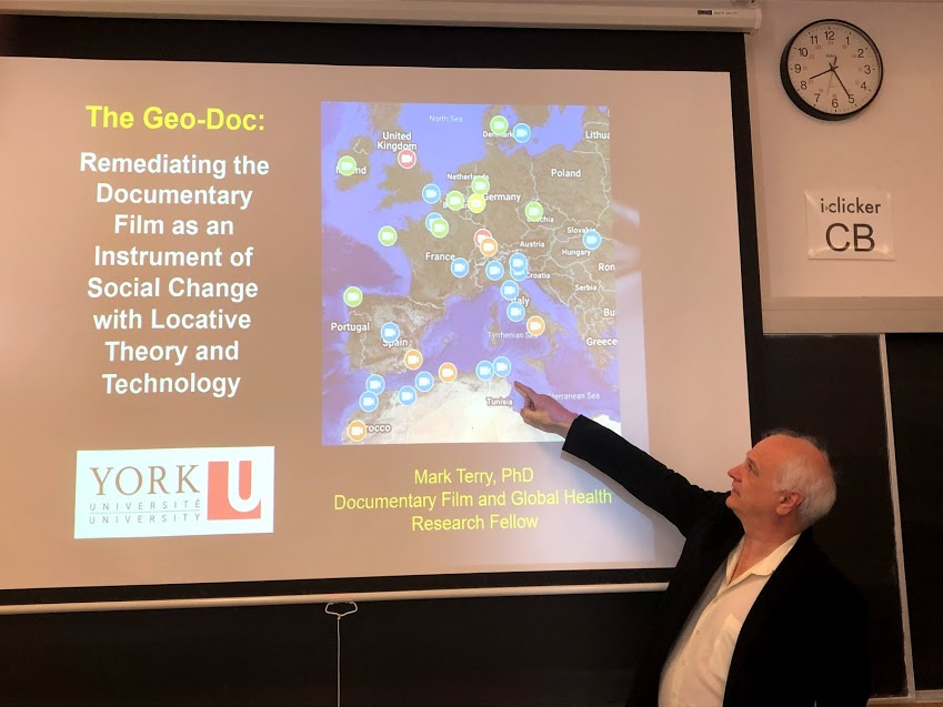 Mark Terry points to a screenshot of his geo-doc project