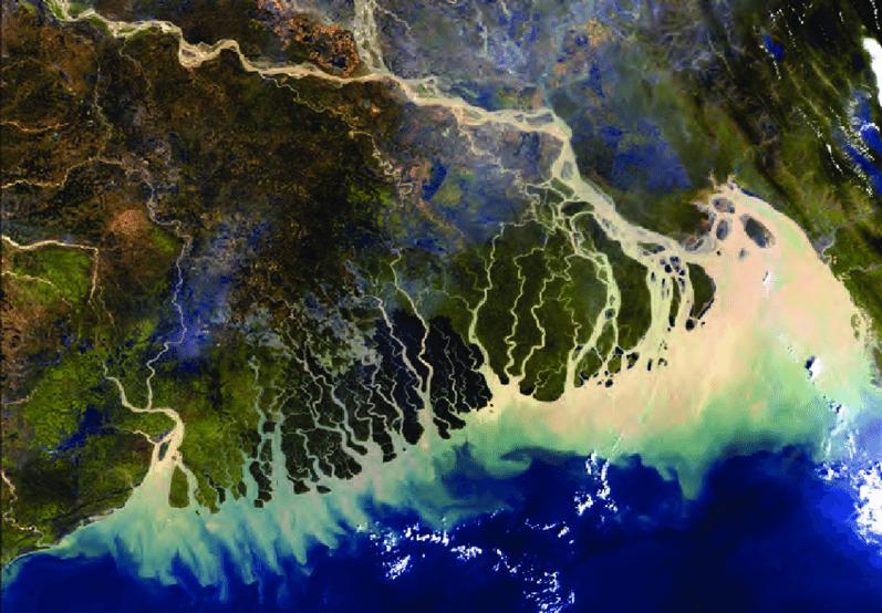 Satellite imagery of coastal Bangladesh