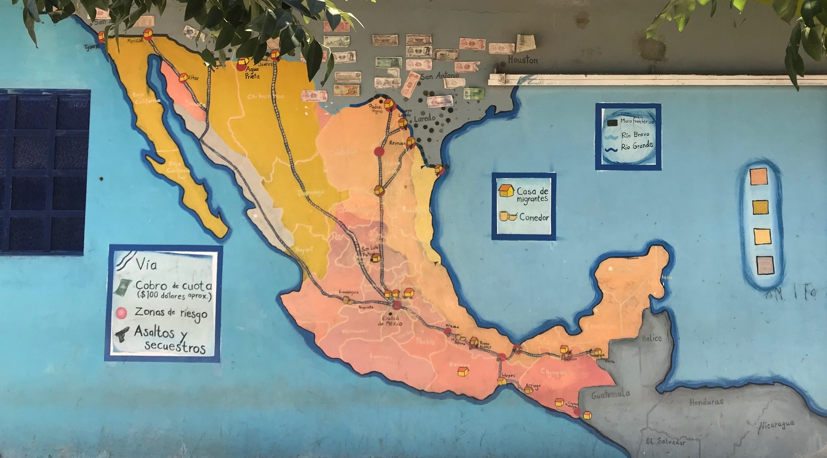 Mural of migration routes through Mexico