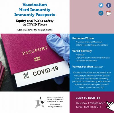 Vaccination, Immunity Passports: Equity and Public Safety in COVID Times @ Online